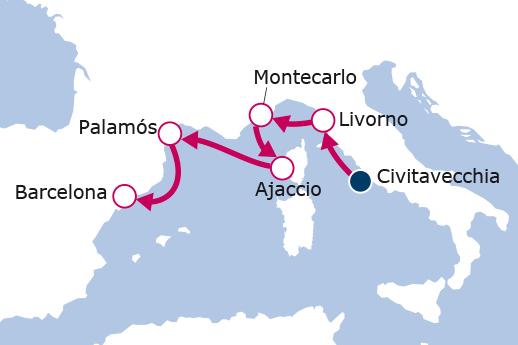 Itinerario de Italia, Mónaco, Francia, España III