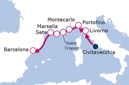 Itinerario de Italia, Mónaco, Francia, España II
