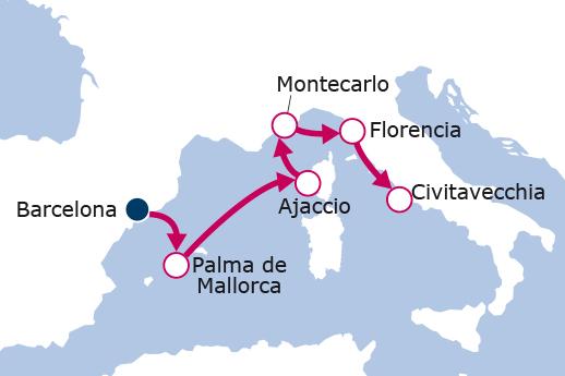 Itinerario de España, Francia, Mónaco, Italia
