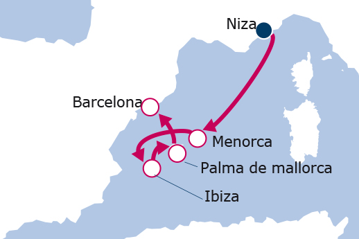 Itinerario de Niza, Ibiza, Mallorca y Menorca