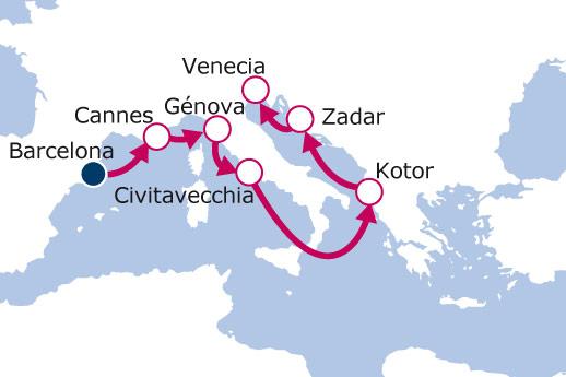 Itinerario de De Barcelona a Venecia