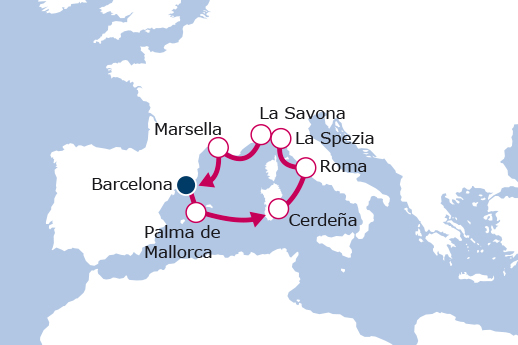 Itinerario de Maravilloso Mediterráneo Nochevieja