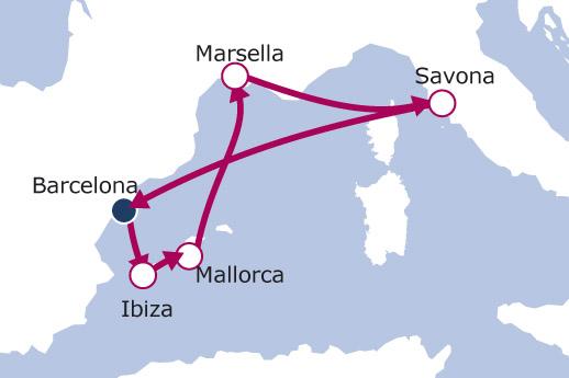 Itinerario de Baleares, Francia e Italia