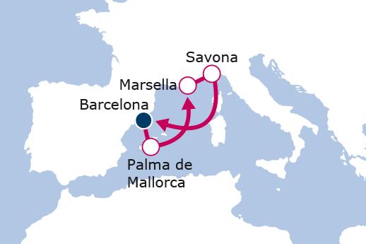 Itinerario de Palma, Francia e Italia
