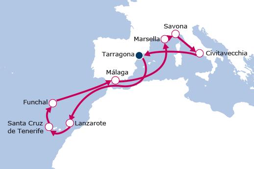 Itinerario de Crucero Gourmet Canarias, Madeira y Mediterráneo