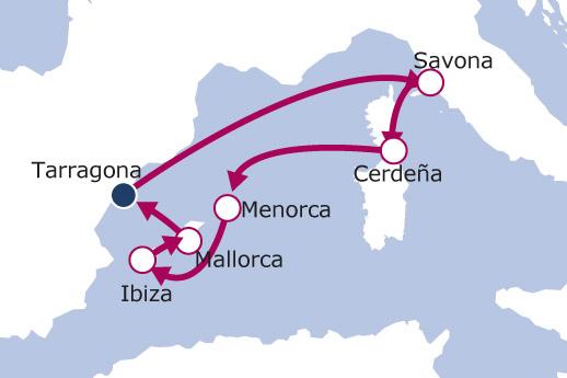 Itinerario de Italia, Cerdeña y Baleares