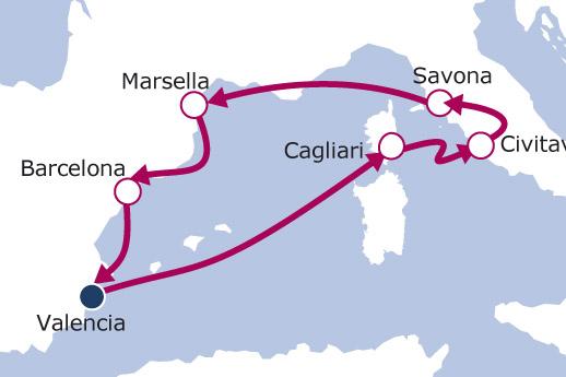 Itinerario de Cerdeña, Italia y Francia