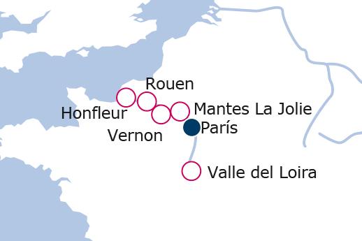 Itinerario de París, Castillos del Loira y Secretos de Normandía