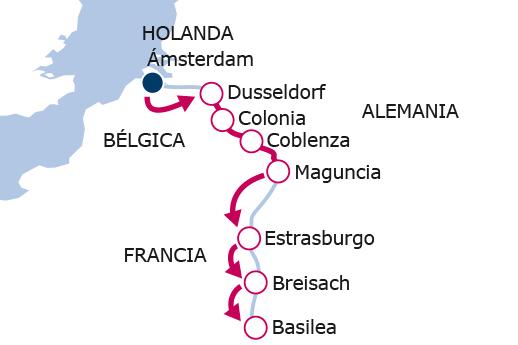 Itinerario de De Amsterdam a Basilea
