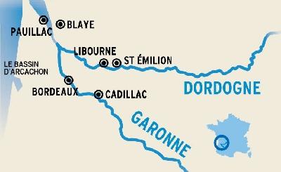 Itinerario de El Garona y el Dordoña desde Burdeos