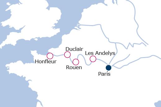 Itinerario de París y la costa de Normandía