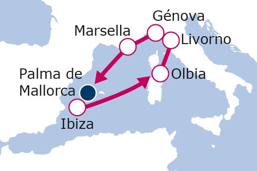 Itinerario de España, Italia, Francia desde Palma