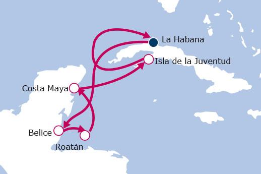 Itinerario de Cuba, Belize, Honduras y México