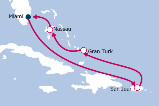 Itinerario de Crucero Caribe Fin de año+Hotel+Vuelos+Traslados