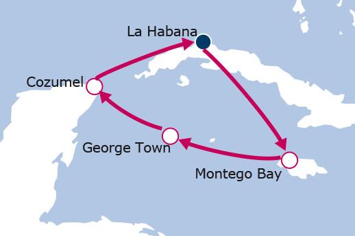 Itinerario de Crucero por Cuba, Jamaica, Islas Caymán y Mexico