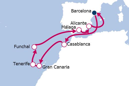 Itinerario de Marruecos, Canarias y Madeira desde Barcelona
