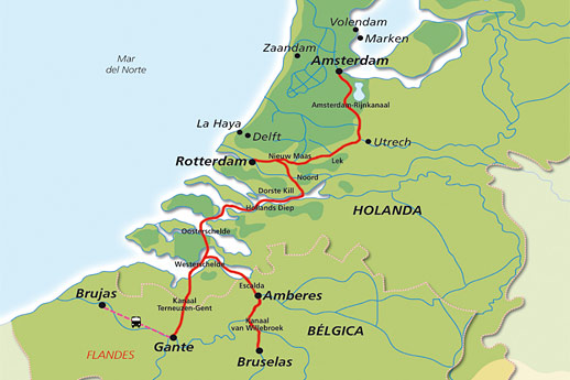 Itinerario de Crucero de Bélgica y Holanda A