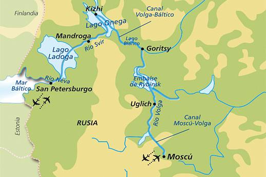Itinerario de Gran Crucero de Rusia desde Moscú