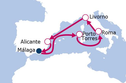 Itinerario de Leyendas del Mediterráneo 2017 desde Málaga