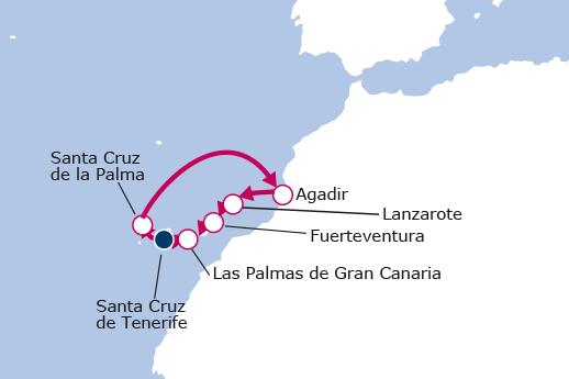 Itinerario de Islas Canarias y Marruecos desde Tenerife