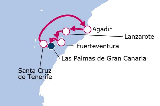 Itinerario de Islas Canarias y Marruecos desde Las Palmas II