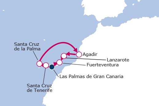 Itinerario de Islas Canarias y Marruecos desde Las Palmas