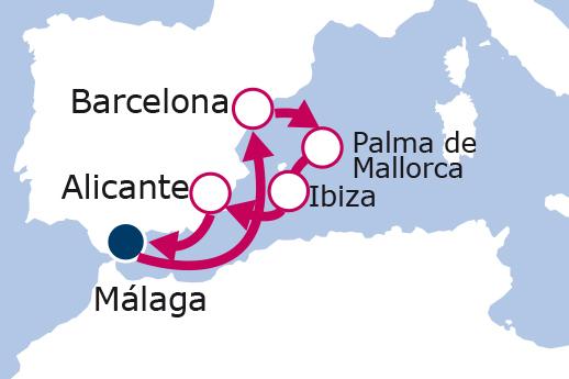 Itinerario de Islas Baleares desde Málaga