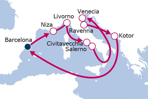 Itinerario de Francia, Italia, Montenegro